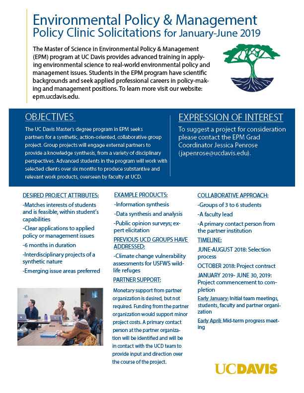 Environmental Policy & Management Policy Clinic Flyer