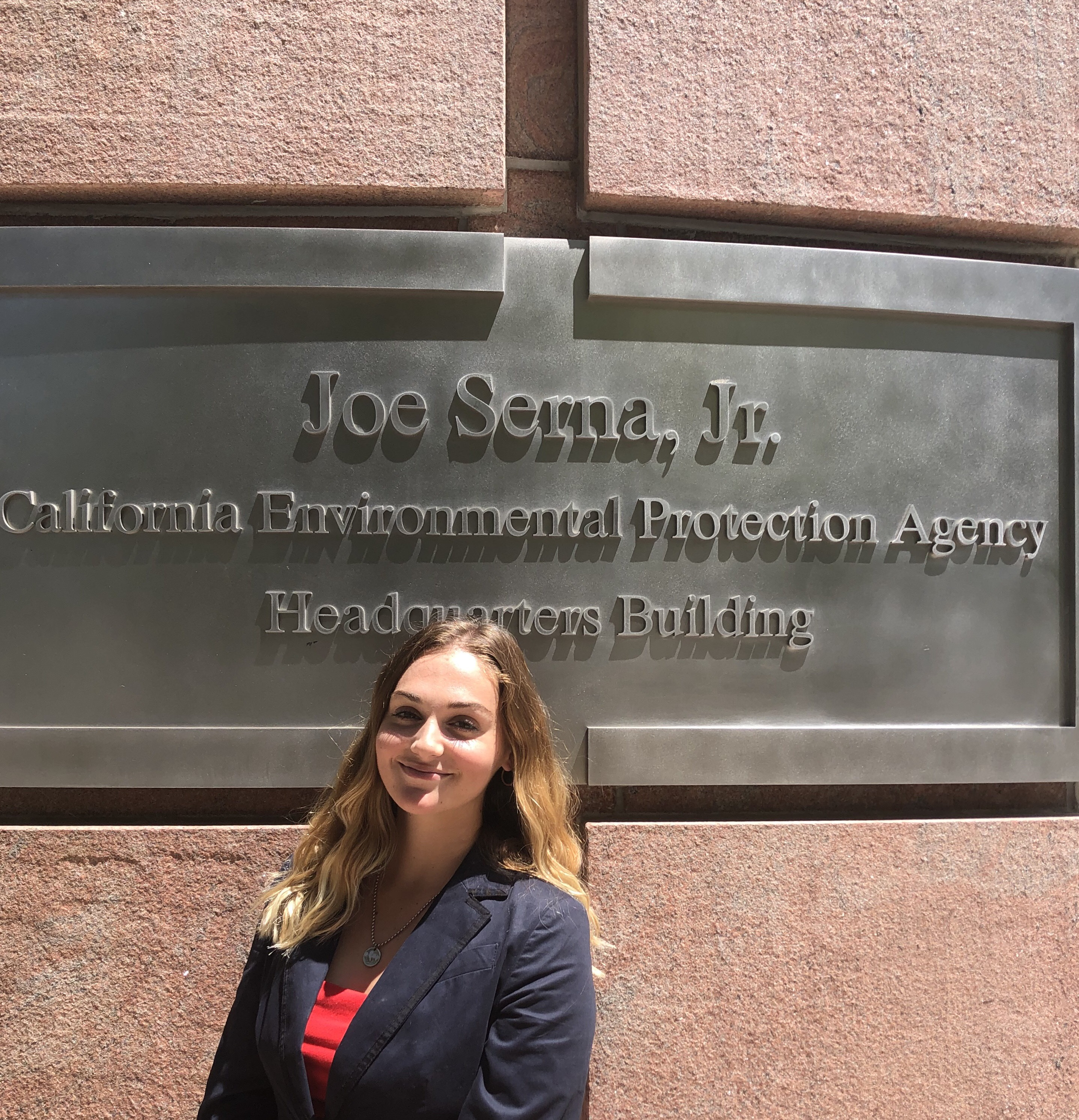 Kassidy Heckmann at her practicum at the State Water Resources Control Board