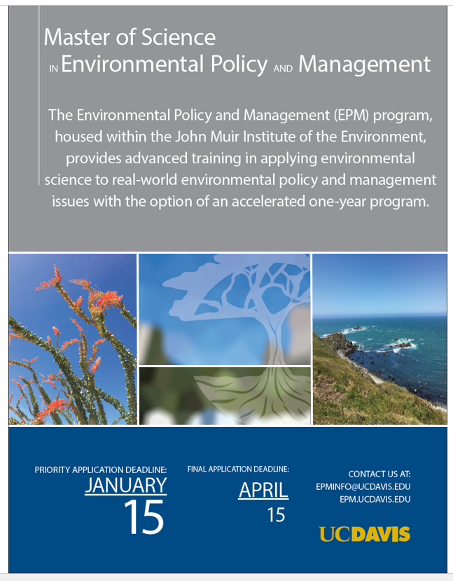 Priority Application Deadline January 15th, 2018 for the Master of Science in  Environmental Policy and Management program